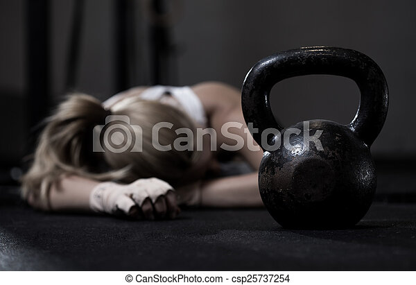 treinamento, após, menina, crossfit - csp25737254