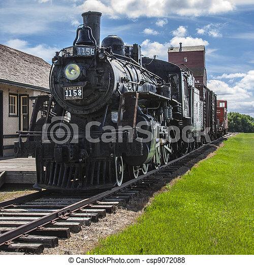 treinpost, prairie - csp9072088