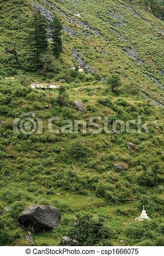 Trek to Bhagsu Waterfall, India - csp1666075