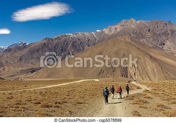 trekkers, nepal - csp5078899