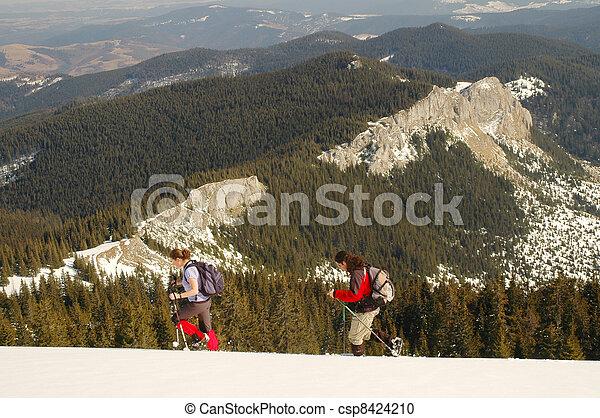 trekkers, winterlandschap - csp8424210