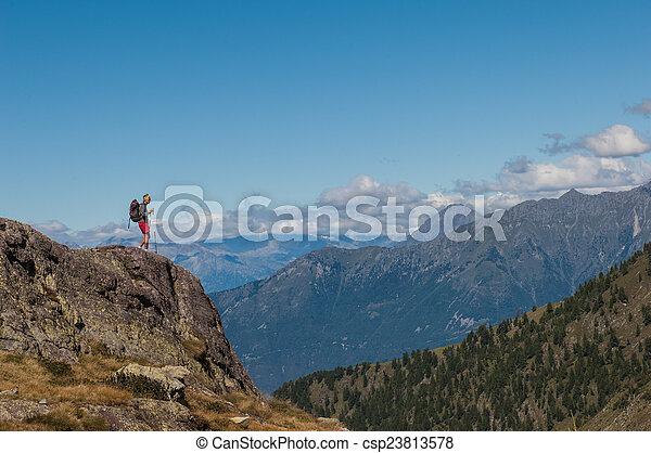 trekking in the mountain - csp23813578