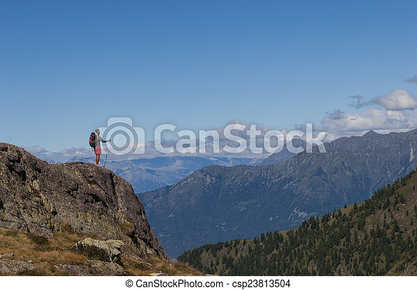 trekking in the mountain - csp23813504