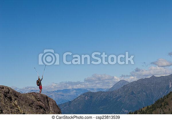trekking in the mountain - csp23813539