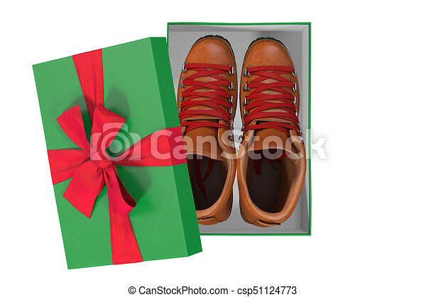 trekking shoes in a gift box, 3d