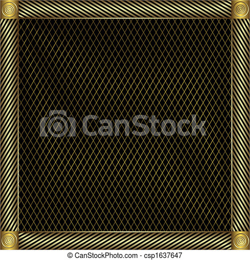 Trellised silvery and golden frame. - csp1637647
