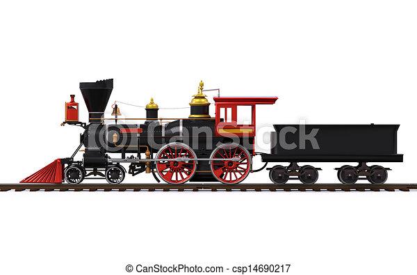 trem, antigas, locomotiva - csp14690217