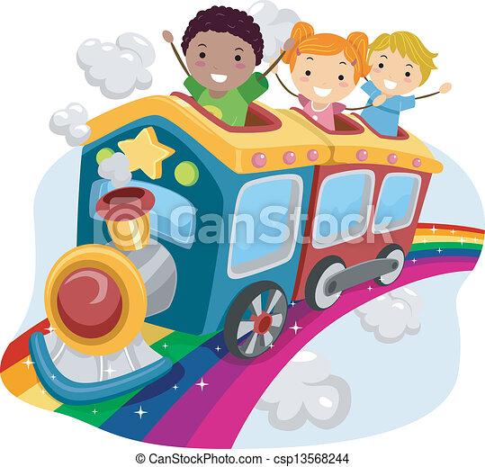 trem, arco íris, topo, crianças - csp13568244
