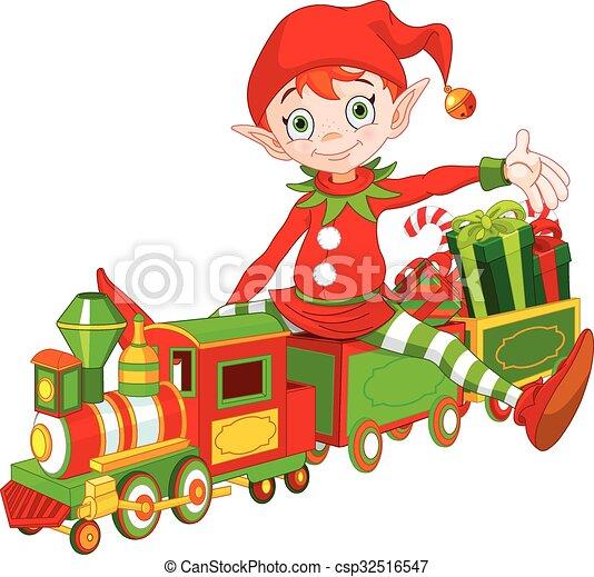 trem brinquedo, duende, natal - csp32516547