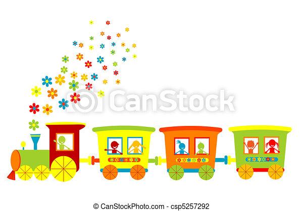 trem brinquedo, feliz, crianças - csp5257292