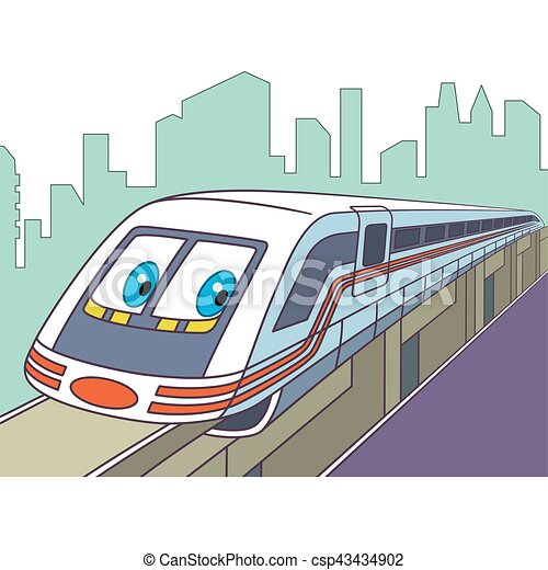 trem, caricatura, elétrico - csp43434902