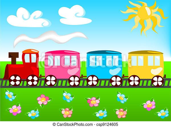 trem, caricatura, ilustração - csp9124605