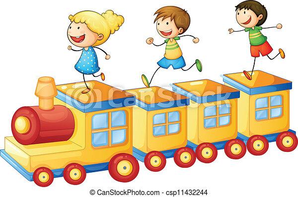 trem, crianças - csp11432244