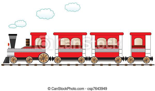 trem, em movimento, vermelho - csp7643949