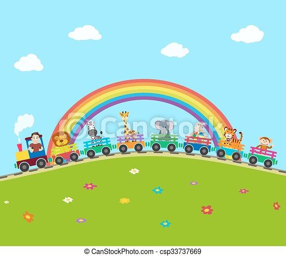 trem, ilustração, animals., vetorial, estrada ferro, caricatura - csp33737669