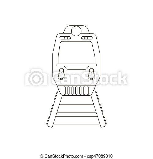 trem, silueta, ilustração - csp47089010