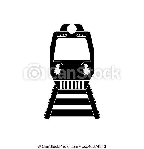 trem, silueta, ilustração - csp46674343