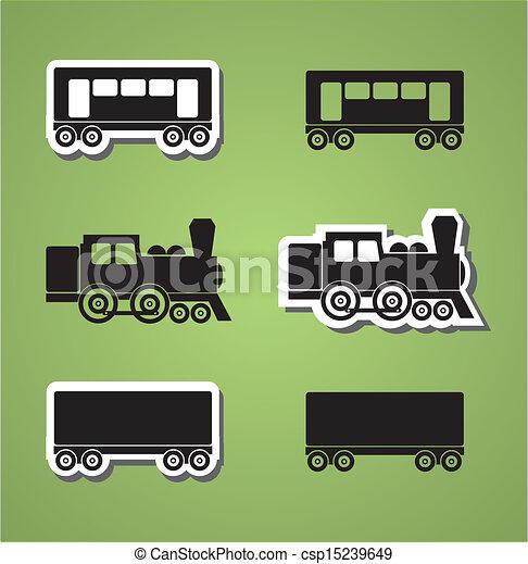 trem vagão, silhouets - csp15239649