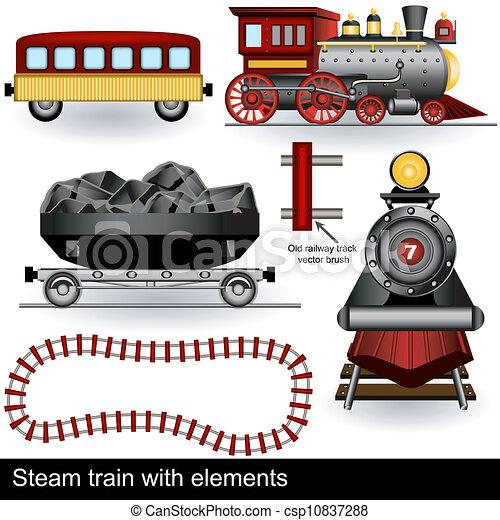 trem, vapor, elementos - csp10837288