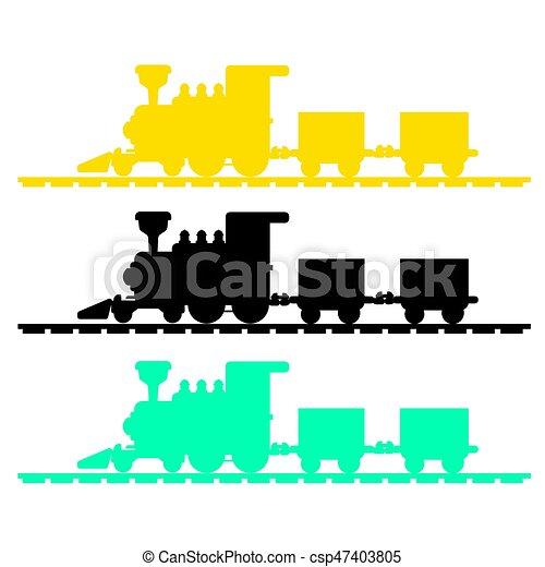 trem, vetorial, silueta - csp47403805