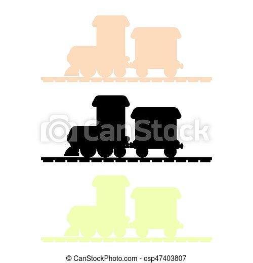 trem, vetorial, silueta - csp47403807