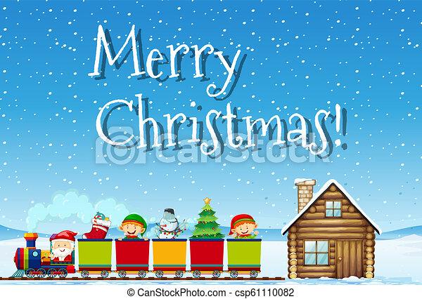 Feliz Navidad Santa y el concepto del tren - csp61110082