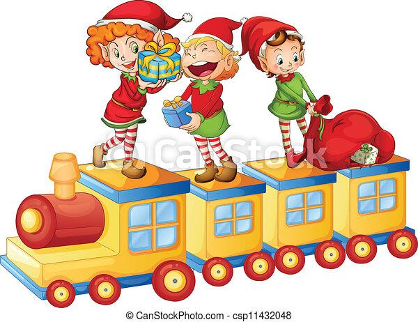 Niños jugando en el tren - csp11432048