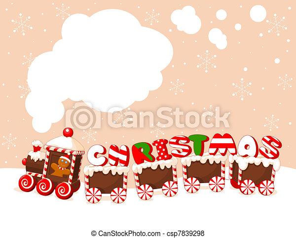 Trasfondo de trenes de Navidad - csp7839298