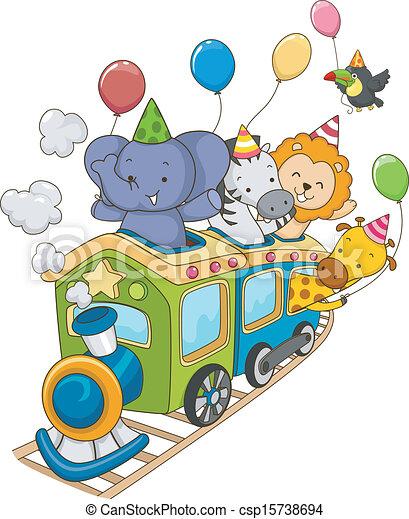 Tren de cumpleaños de animales - csp15738694