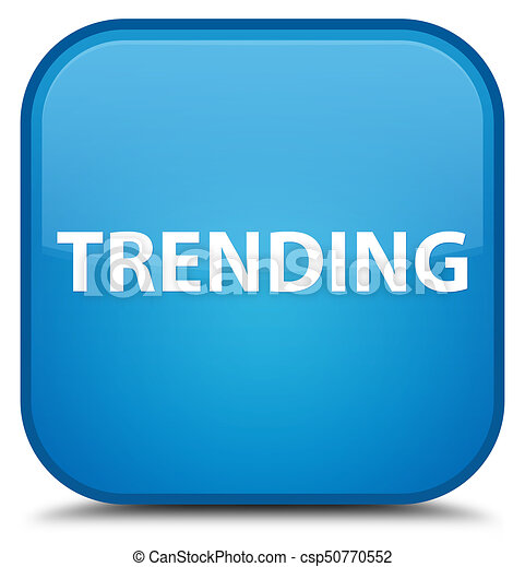 Trending special cyan blue square button - csp50770552