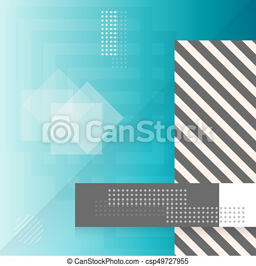 Trendy Abstract Shapes Geometric Background. 90s Style Hipster Funky Shapes Poster Template - csp49727955