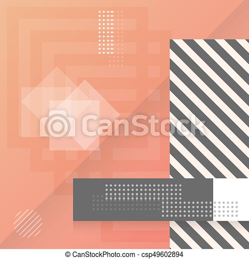 Trendy Abstract Shapes Geometric Background. 90s Style Hipster Funky Shapes Poster Template - csp49602894