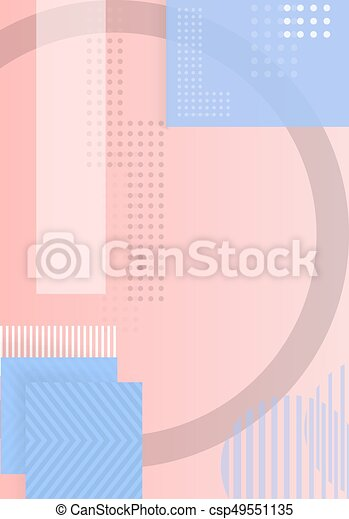 Trendy Abstract Shapes Geometric Background. 90s Style Hipster Funky Shapes Poster Template - csp49551135