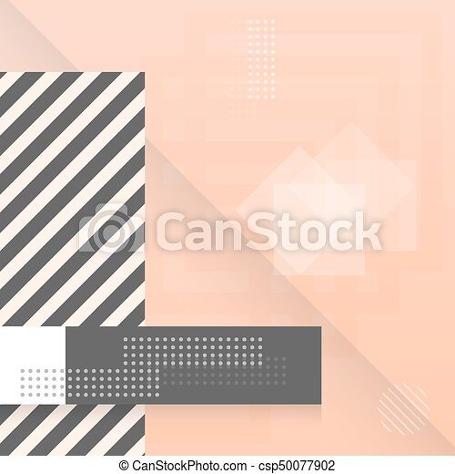 Trendy Abstract Shapes Geometric Background. 90s Style Hipster Funky Shapes Poster Template - csp50077902