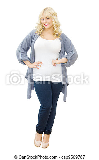 Trendy and chic - beautiful woman smiling - csp9509787