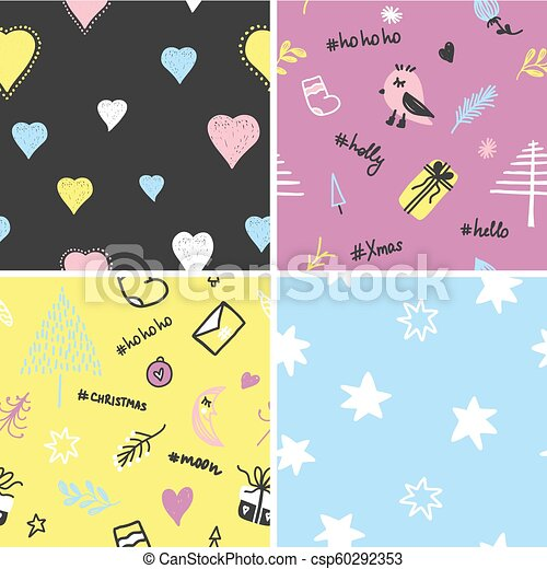 Trendy Christmas Vector Seamless Colorful Pattern With Brush Strokes Vector Illustration