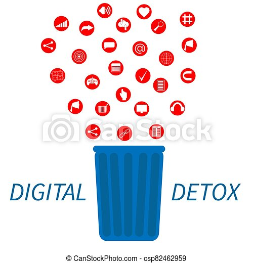 Trendy flat information icons going into a garbage basket. Concept illustration of digital hygiene, input overload and digital detox. - csp82462959