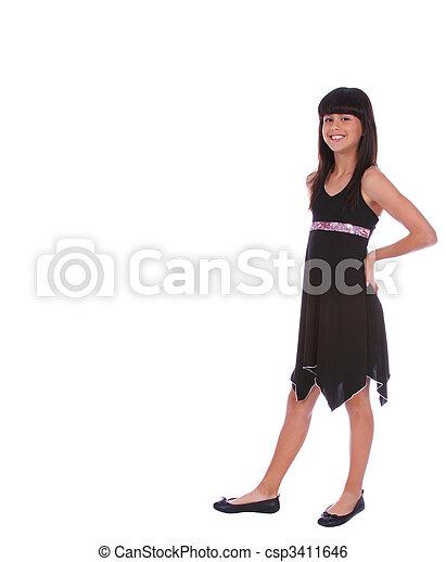 Trendy Girl On Standing Pose - csp3411646