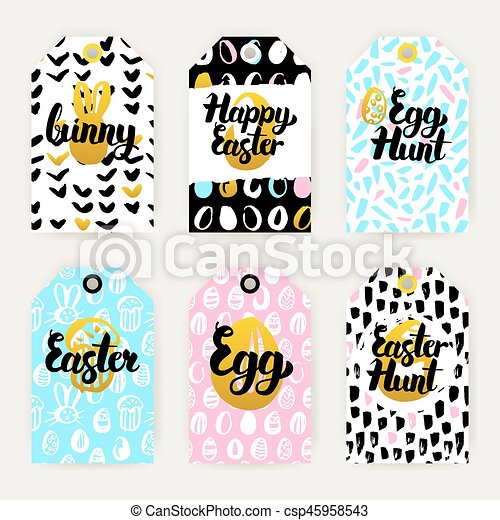 Trendy happy easter gift labels vector illustration of 80s eps trendy happy easter gift labels csp45958543 negle Images