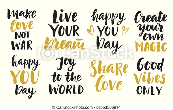 Trendy Inspirational Phrases Collection Handwritten Lettering Cool Inspirational Phrases