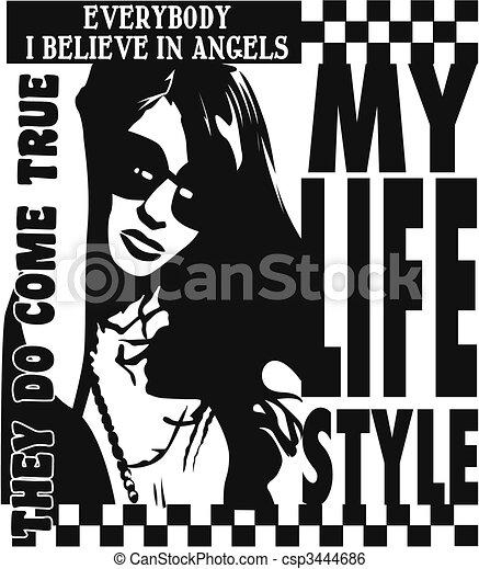 trendy, manifesto, signora, disegno - csp3444686