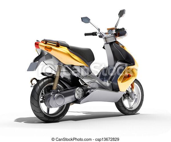 Trendy orange scooter close up - csp13672829