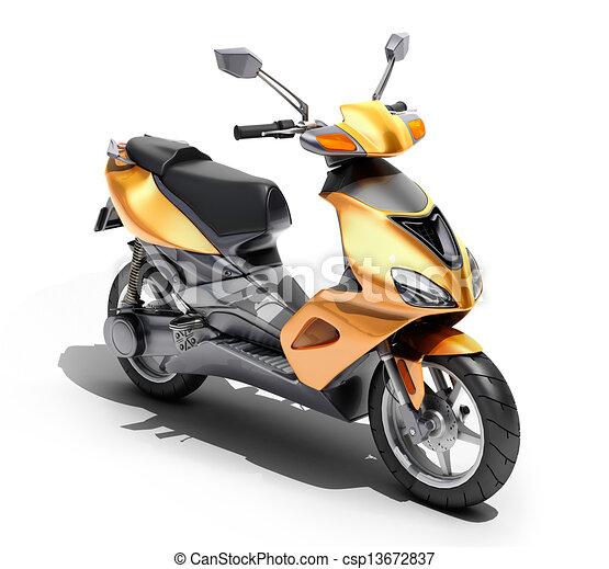 Trendy orange scooter close up - csp13672837