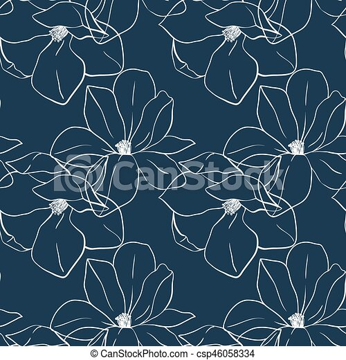 Trendy Seamless Floral Print With Magnolia Flowers On Deep Blue Color Vector Hand Drawn