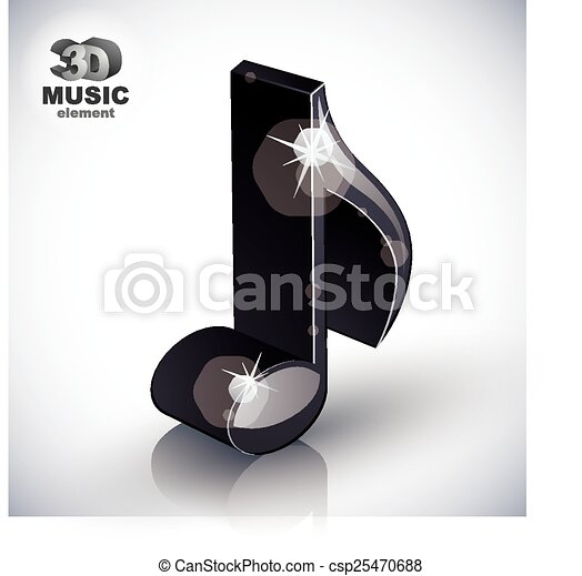 Trendy slim musical note 3d modern - csp25470688