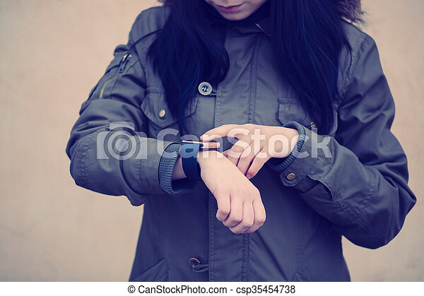 Trendy smart wriswatch in real life - csp35454738