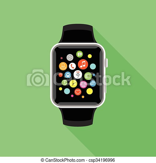 Trendy smartwatch with app icons, flat green design. - csp34196996
