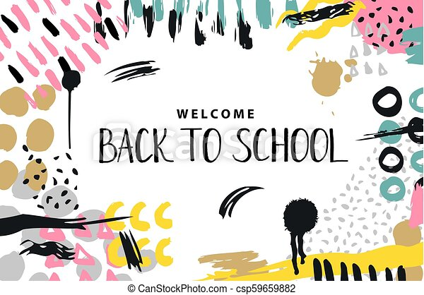 Trendy Vector Colorful Pattern With Brush Strokes And Letter Back To School Design Backgrounds For Wallpaper Cover Hand