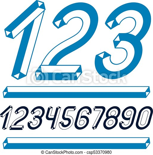 Trendy vintage vector digits, numerals collection  Retro italic numbers  from 0 to 9 can be used in art poster creation  Made with industrial 3d  tetra