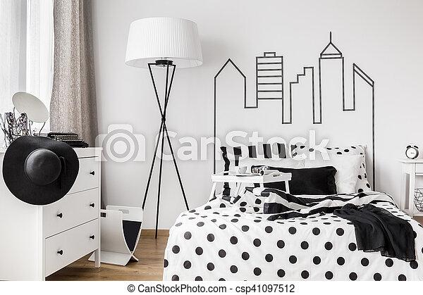 Trendy woman bedroom - csp41097512